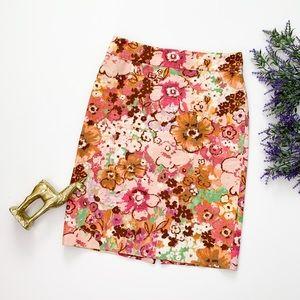 J.Crew Watercolor Floral Pastiche Pencil Skirt